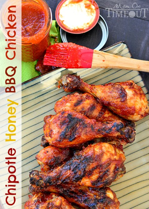 Chipotle Honey BBQ Chicken -  Fabulously sweet and perfectly spicy this chicken is great any night of the week!  MomOnTimeout.com #chicken