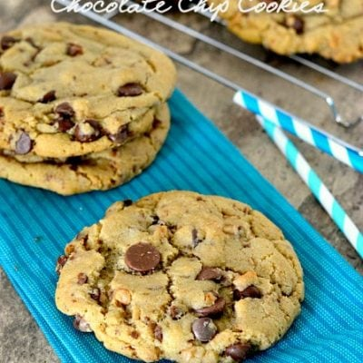 Giant, Chewy, Brown Butter Toffee Chocolate Chip Cookies