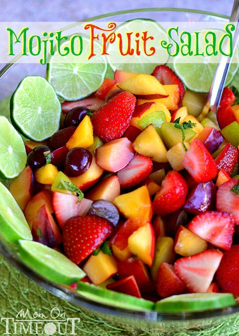 Mojito Fruit Salad - A deliciously easy fruit salad with mojito flavor! Perfect for hot summer days! Rum optional. | MomOnTimeout.com | #fruit #salad
