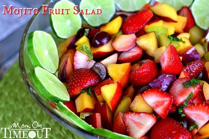 Mojito Fruit Salad   MomOnTimeout.com A delicious fruit salad with mojito flavor! #fruit #salad