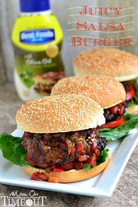 Juicy Salsa Burgers made with a secret ingredient!   MomOnTimeout.com