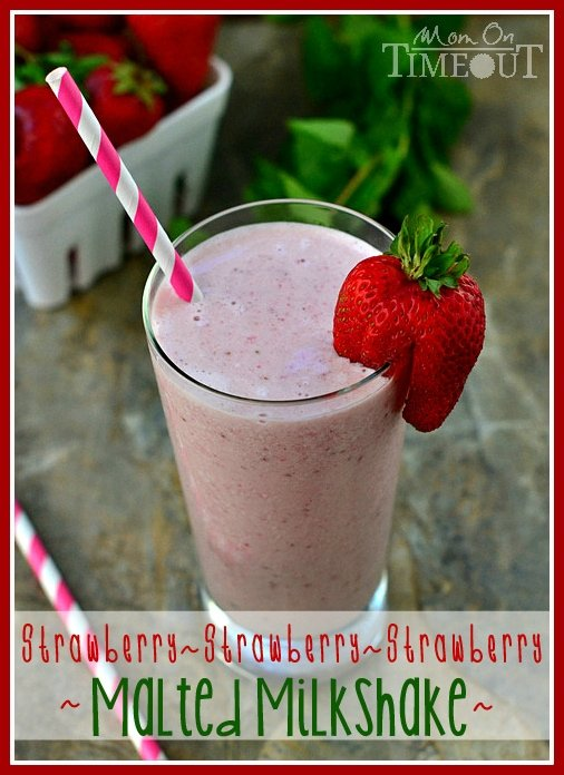 Strawberry Malted Milkshake that will blow your mind! | MomOnTimeout.com