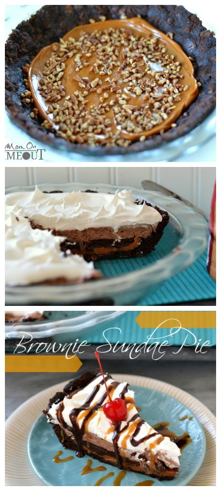 Brownie Sundae Pie from MomOnTimeout.com | This delectable pie starts with a brownie crust and just gets better from there! #easy #recipe