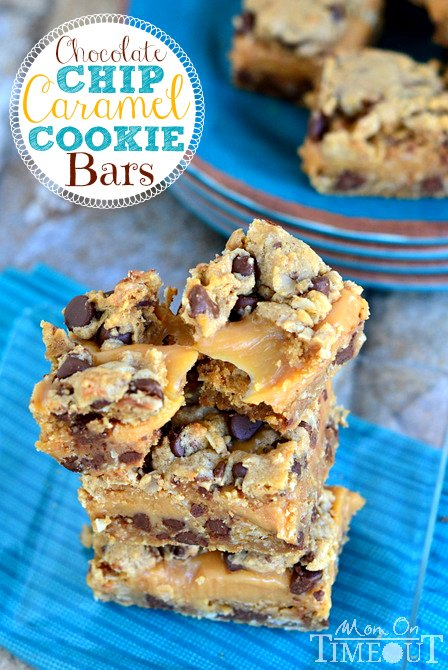 Chocolate Chip Caramel Cookie Bars are SO good with a sweet, gooey, caramel center! | MomOnTimeout.com