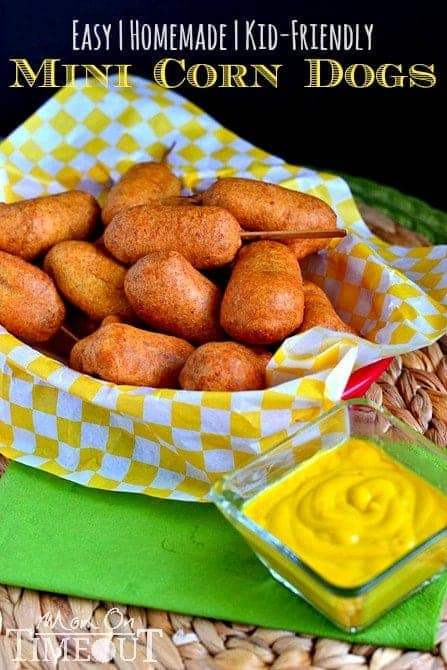 Easy Homemade Mini Corn Dogs - An easy, family friendly recipe that is perfect for dinner or as an appetizer! Kids go CRAZY for these!   MomOnTimeout.com