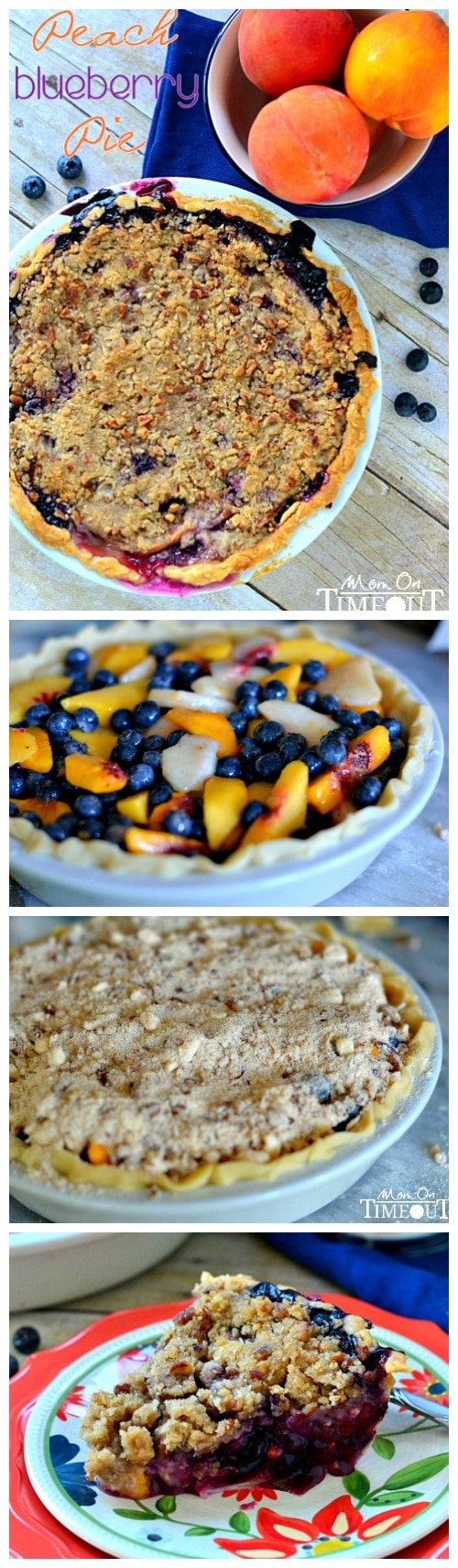 Peach Blueberry Pie with Pecan Streusel Topping made with fresh peaches and blueberries. This is exactly what a summer pie should look and taste like. Don't forget the vanilla ice cream! // Mom On Timeout
