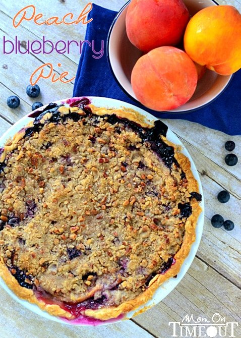 Peach Blueberry Pie with Pecan Streusel Topping made with fresh peaches and blueberries. This is exactly what a summer pie should look and taste like. Don't forget the ice cream! // Mom On Timeout