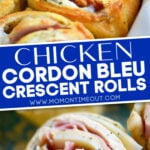 Chicken cordon bleu crescent rolls 2 image collage baked and unbaked in white pie dish with text overlay