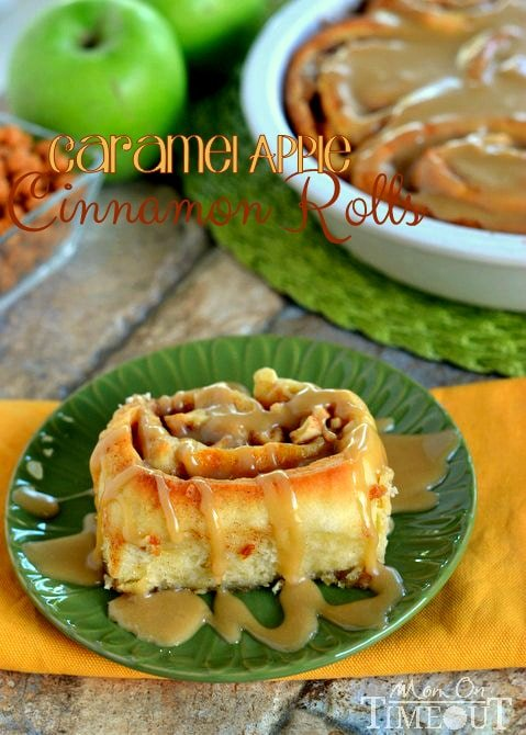 Craving caramel apples? Try these Caramel Apple Cinnamon Rolls for a sweetly satisfying breakfast treat! These gorgeous rolls are topped with a mouth-watering caramel icing and filled with Granny Smith apples and caramel. | MomOnTimeout.com