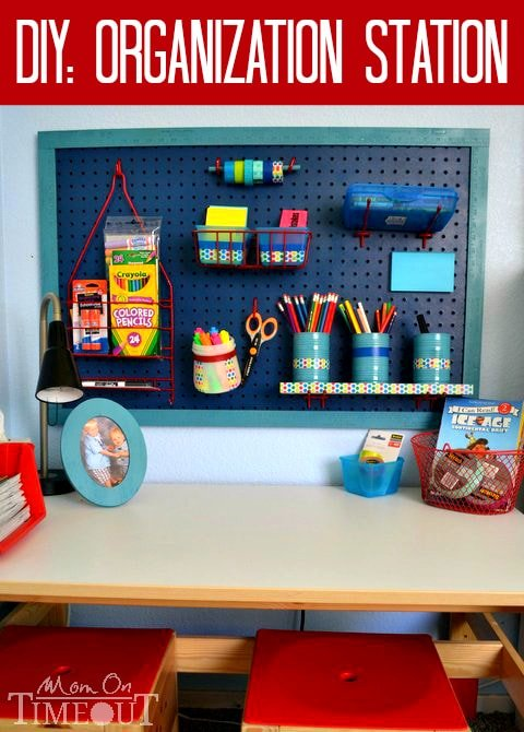 DIY Organization Station - Time to get those desks organized for school! This easy project will have you organized in no time! | MomOnTimeout.com #organization #kids #ScotchBTS #ad