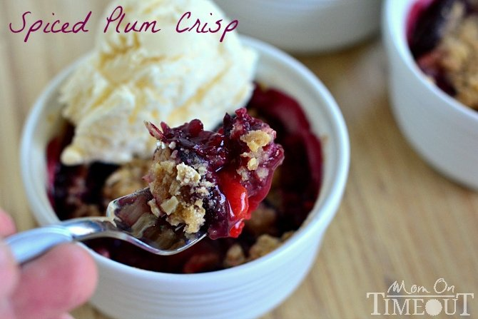 Spiced Plum Crisp is the easiest, most delightful dessert (or breakfast!) you will make this season!   MomOnTimeout.com