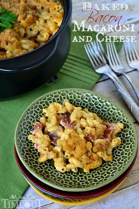 Baked Macaroni and Cheese with Bacon and Caramelized Onions | MomOnTimeout.com #sponsored
