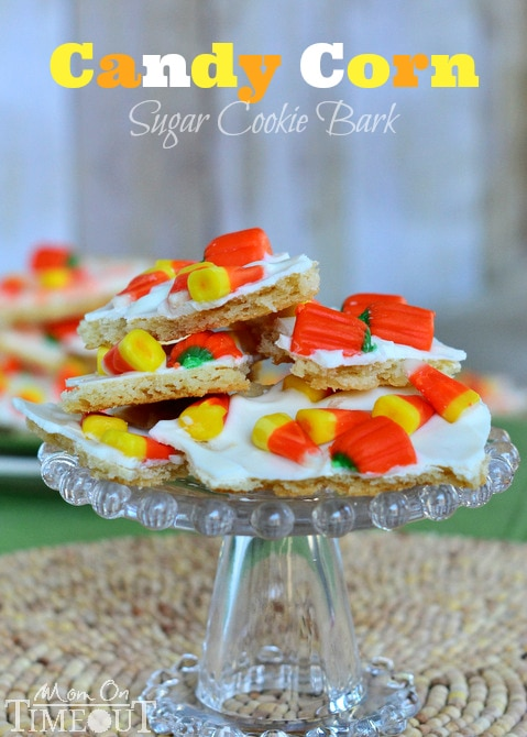 Candy Corn Sugar Cookie Bark is perfect for Halloween! | MomOnTimeout.com #Halloween #recipe