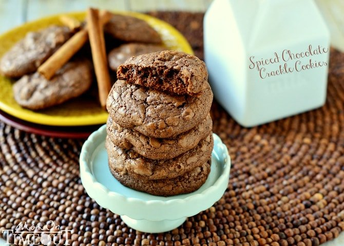 You're going to love these Spiced Chocolate Crackle Cookies made with cinnamon for fantastic warmth and flavor! | MomOnTimeout.com