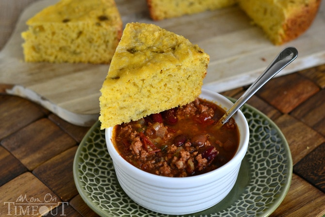 Slow Cooker Mexican Cornbread with Green Chiles and Cheese!   MomOnTimeout.com