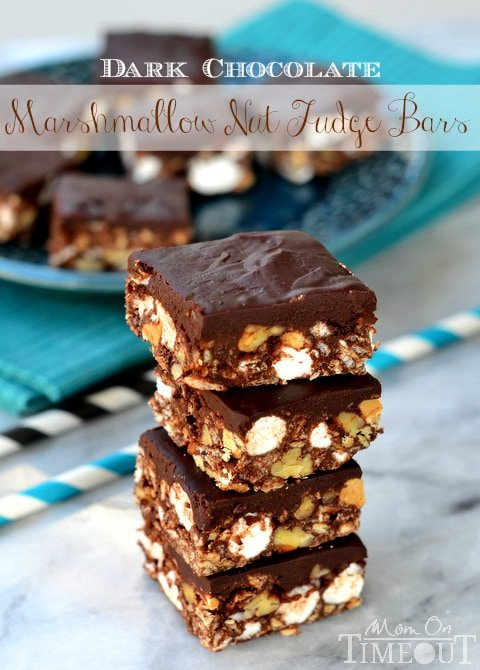 Dark Chocolate Marshmallow Nut Fudge Bars are perfect for an after-school snack or a late night craving! | MomOnTimeout.com