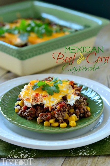 Mexican Beef and Corn Casserole is a fabulously easy dinner option that takes just 30 minutes! | MomOnTimeout.com #sponsored #dinner