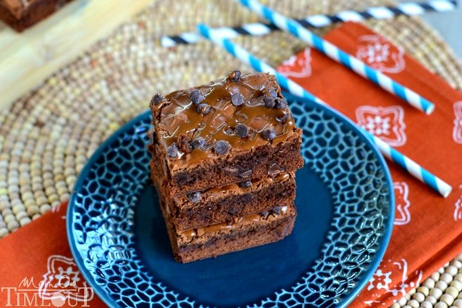 Totally decadent, totally delicious, these Mocha Chocolate Chip Brownies make a stunning, homemade treat that takes just minutes longer than a box mix! | MomOnTimeout.com