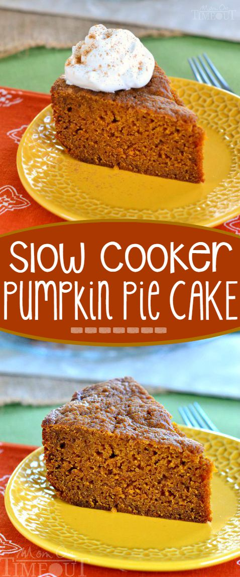 This Slow Cooker Pumpkin Pie Cake is sure to quickly become a family favorite. Moist, delicious and so wonderfully easy to prepare - straight from your slow cooker. // Mom On Timeout #pumpkin #cake #pie #Thanksgiving #Christmas #slowcooker #crockpot #dessert #recipe #momontimeout