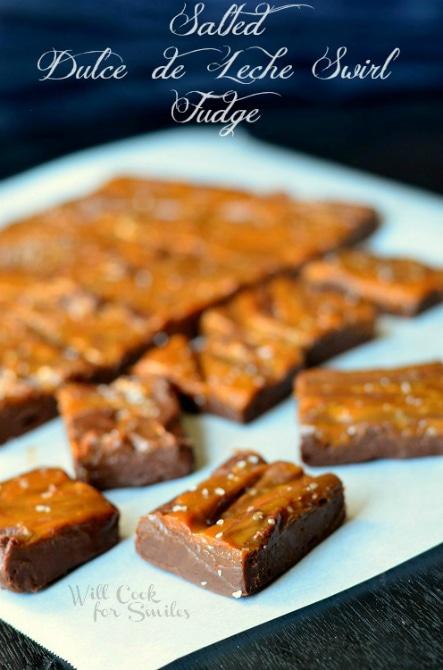 Salted Dulce de Leche Swirl Fudge | MomOnTimeout.com