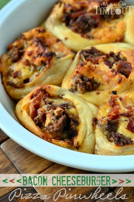 Bacon Cheeseburger Pizza Pinwheels are a fun way to enjoy all the fantastic flavors of a Bacon Cheeseburger Pizza! | MomOnTimeout.com
