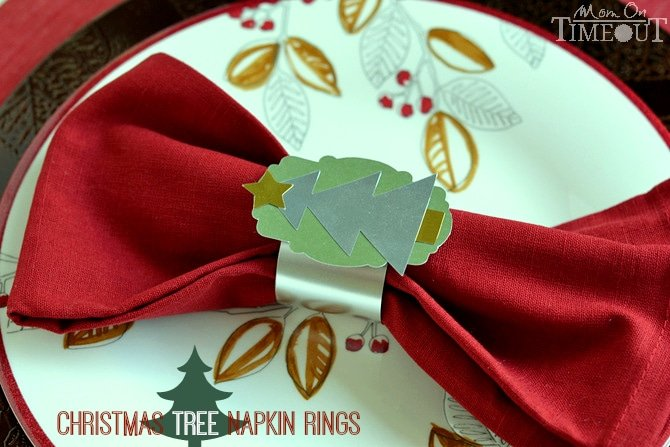 Add some Christmas sparkle and a personal touch to your holiday table this year with these Christmas Tree Napkin Rings! | MomOnTimeout.com #sponsored #Christmas #craft