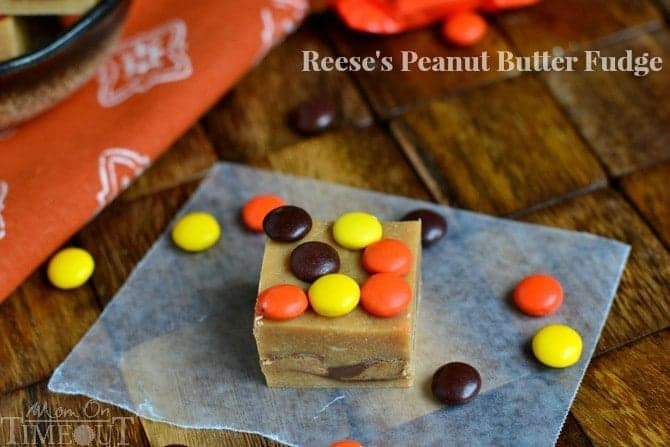 This wonderfully easy Reese's Peanut Butter Fudge takes only 5 minutes to prepare and will satisfy your deepest peanut butter cravings!   MomOnTimeout.com