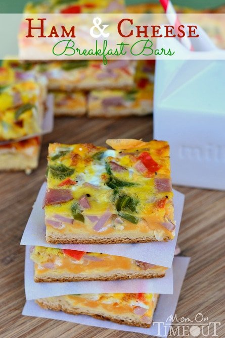 breakfast bars with ham and cheese stacked