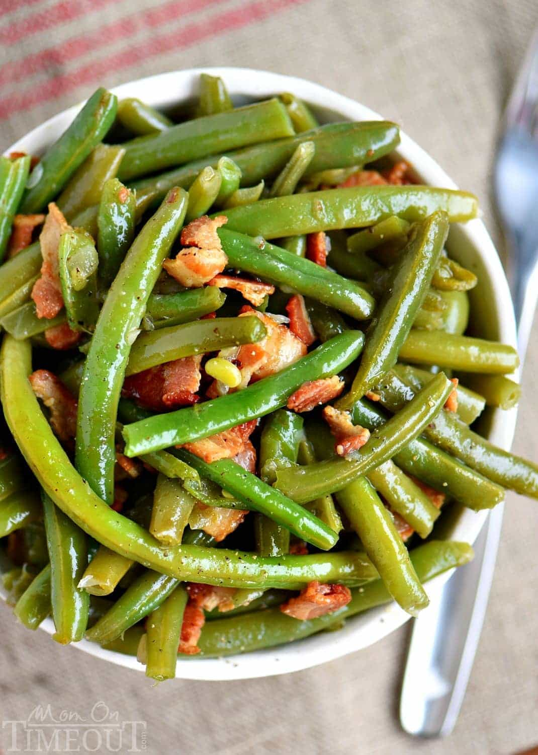 green bean recipe with bacon top down view in bowl