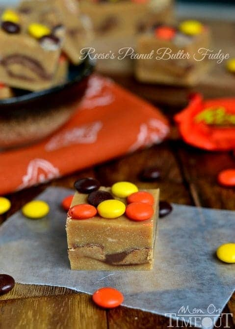 This wonderfully easy Reese's Peanut Butter Fudge takes only 5 minutes to prepare and will satisfy your deepest peanut butter cravings! | MomOnTimeout.com