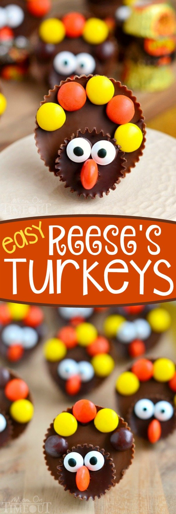 Calling all Reese's lovers! Look no further for the perfect Thanksgiving treat with these completely adorable Reese's Turkeys! Super easy to make and sure to please the chocolate and peanut butter lovers in your life!