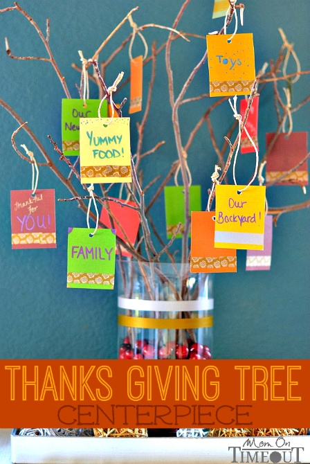 This Thanks Giving Tree Centerpiece is a lovely, visual way for your family and guests to give thanks this year! | MomOnTimeout.com #sponsor #ScotchEXP