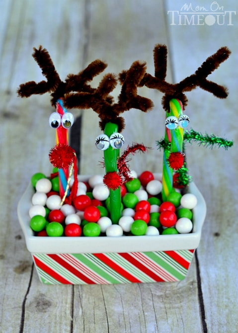 Candy Cane Reindeer | SimplyCelebrate.Meals.com - Candy canes never looked so cute! The decorating options are endless with this adorable reindeer craft. #christmas #crafts #simplycelebrate