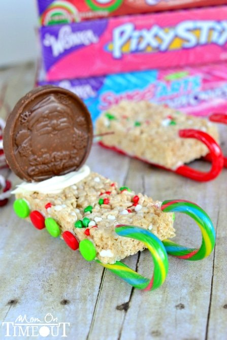Candy Cane Sleds | SimplyCelebrate.Meals.com - These tasty Candy Cane Sleds are the perfect addition to your #Christmas cookie roster - and make great gifts! #candycanes #simplycelebrate
