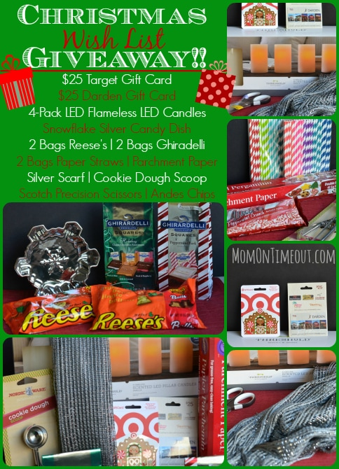 An exciting giveaway from MomOnTimeout.com!  Includes $25 Target Gift Card, $25 Darden Restaurants Gift Card and much more! Ends 12/8/13.  #giveaway