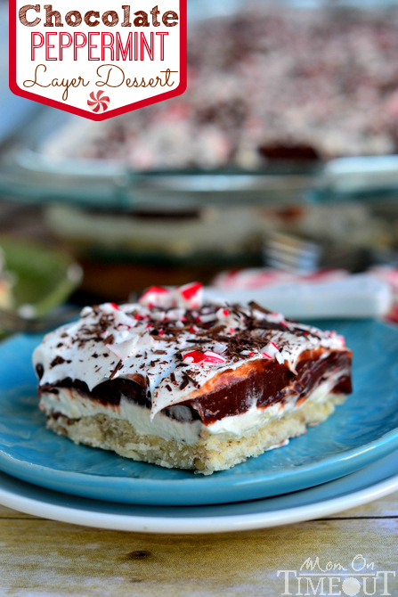 Chocolate Peppermint 4 Layer Dessert | MomOnTimeout.com #chocolate #peppermint #dessert