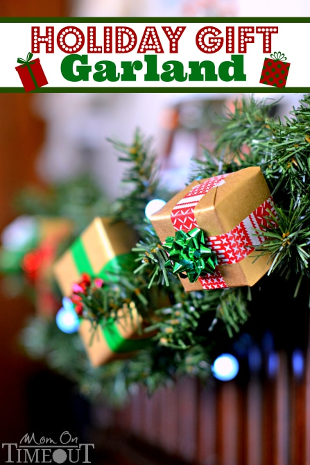 This Holiday Gift Garland is a surefire way to instantly add a festive flair to your holiday decorations! | MomOnTimeout.com #ad #craft #Christmas #ScotchEXP