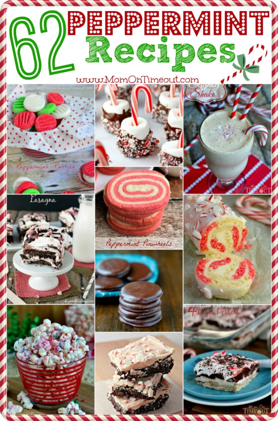 62 Peppermint Recipes for your holiday celebrations.  Candy, brownies, cookies, cakes, drinks and more!   MomOnTimeout.com #Christmas