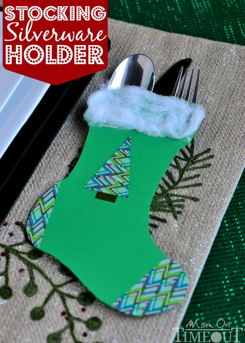 These Festive Stocking Silverware Holders are a great way to bring holiday cheer to your table this season!  | MomOnTimeout.com #christmas #Craft #ScotchEXP