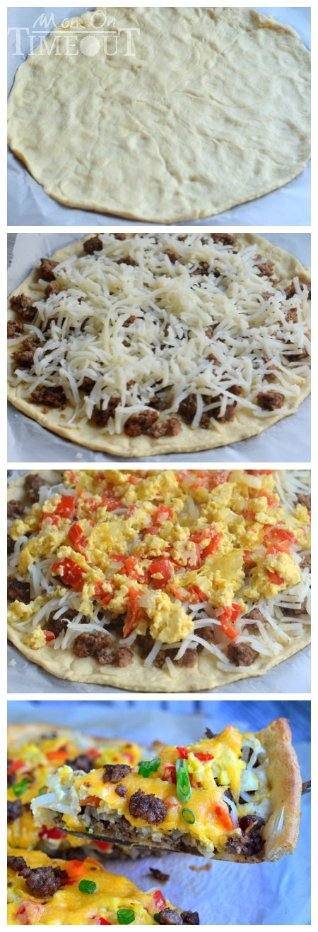 Make breakfast fun and delicious with this quick and easy Skinny Breakfast Pizza! | MomOnTimeout.com