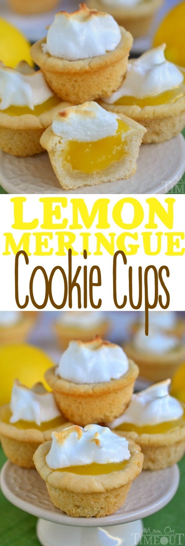 Lemon Meringue Cookie Cups are the perfect dessert for my lemon lovers out there! Sugar cookie cups pair perfectly with the refreshingly tart lemon curd filling in these sweet little Lemon Meringue Cookie Cups!The lemon curd filling is made in the microwave and is going to be your new favorite thing - promise. I love these delightful little cups for parties and entertaining. They are so pretty and an absolute crowd pleaser. // Mom On Timeout #lemon #cookie #cookies #cups #lemoncurd #curd #meringue