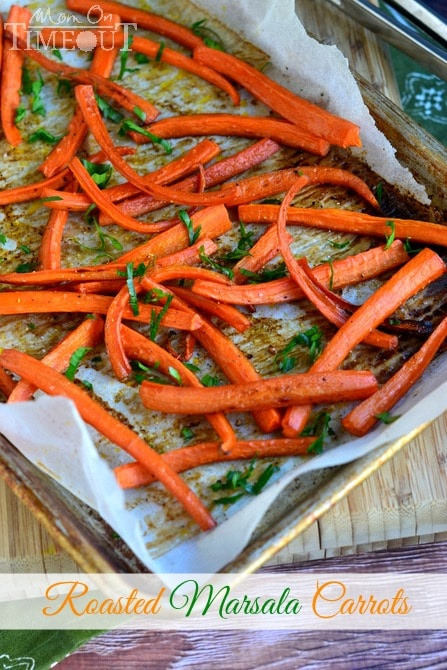 Get your family to sit up and take notice at dinner time with delicious Roasted Marsala Carrots! | MomOnTimeout.com