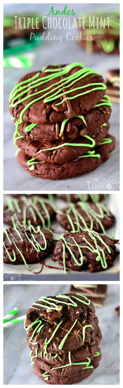 You're going to love the rich chocolate and refreshing mint flavors in these Andes Triple Chocolate Mint Pudding Cookies! | MomOnTimeout.com