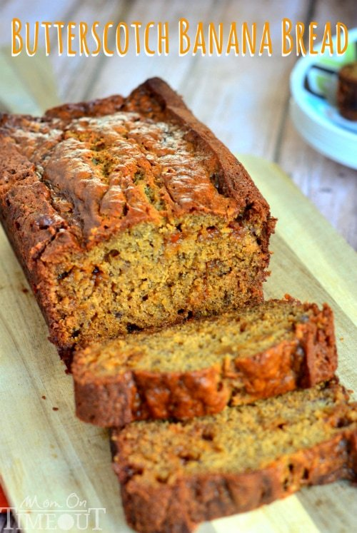 Butterscotch Banana Bread top down on cutting board