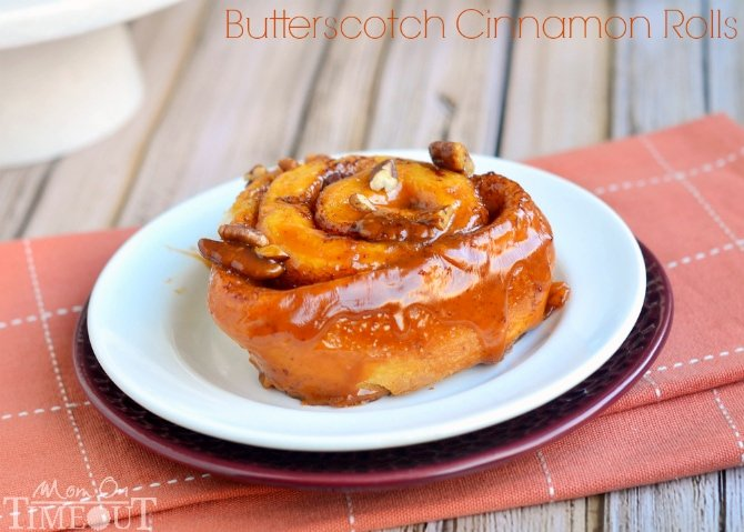 These Easy Butterscotch Pecan Cinnamon Rolls are perfect for those mornings when you don't have a lot of time but still want something warm and sweet for breakfast! | MomOnTimeout.com