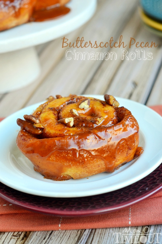 These Easy Butterscotch Pecan Cinnamon Rolls are perfect for those mornings when you don't have a lot of time! | MomOnTimeout.com