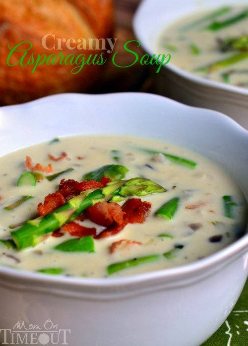 This Creamy Asparagus Soup is so delicious and is just bursting with fresh flavor! Comfort food at it's best! | MomOnTimeout.com