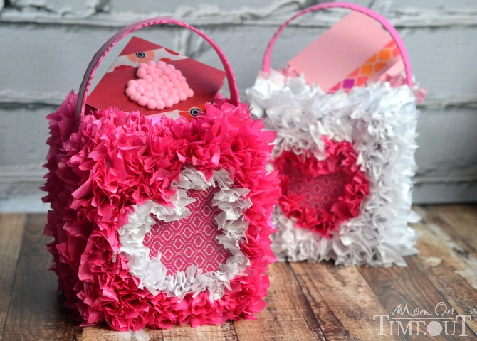 Collect and hand out Valentine's Day cards in style with this DIY Valentine's Mailbox! | MomOnTimeout.com