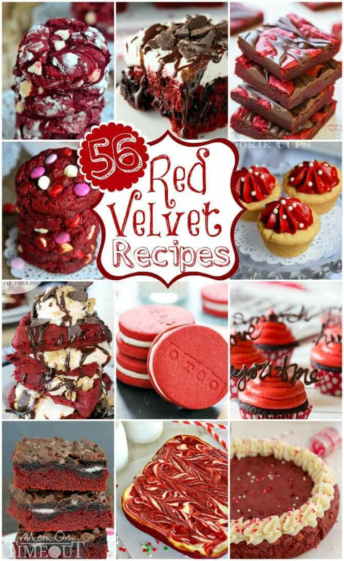 56 Red Velvet Recipes from your favorite bloggers! Cookies, cakes, bars, cupcakes and so much more! | MomOnTimeout.com