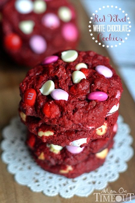 These time-saving, soft and chewy Red Velvet White Chocolate Cookies are made from a cake mix! | MomOnTimeout.com